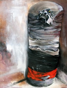 """Heavy Bag"" 2013, 24"" x ""24 Oil and graphite on canvas"
