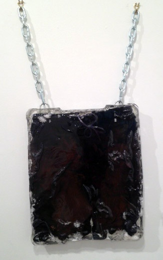 """Shorts from 18;49 series cast in Resin 2"" 2013, 19"" x 16"" shorts, resin, and stainless steel chains"