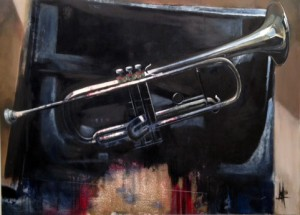 """Dad's Trumpet"" 2015, 36"" x 49"" oil, gold foil, and colored pencil on masonite"