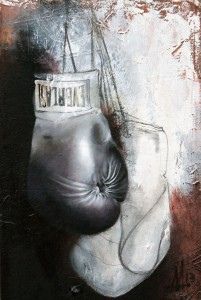 """Gloves"" 2013, 24"" x ""15, Oil and graphite on canvas"