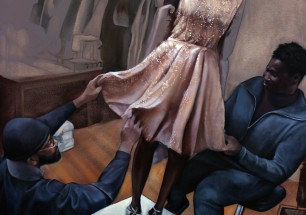 """Edingston's dress for the First Lady"" 2015, 48 X 60 oil on canvas"