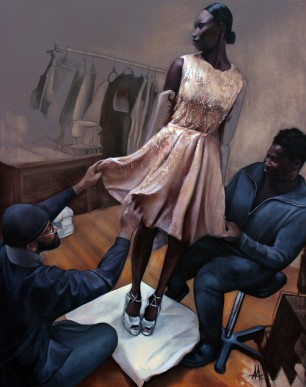 """""""Edingston's dress for the First Lady"""" 2015, 48 X 60 oil on canvas"""