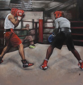 """Sparring Session"" 2015, 36 x 48 oil on canvas"
