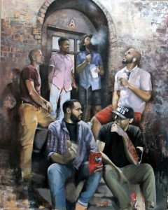 """Stoop in the Bronx"" 2015, 48 x 60 oil on canvas"